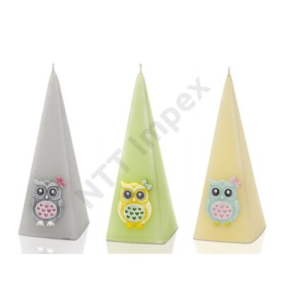 BRT4609GYDI Díszgyertya piramis 50x150 mm Funny Owls