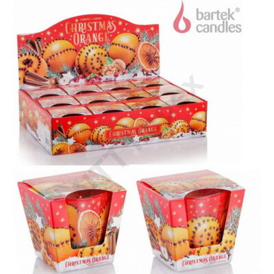 BRT5797GYPO Bartek poharas gyertya 115 gr Christmas Orange 12db/cs