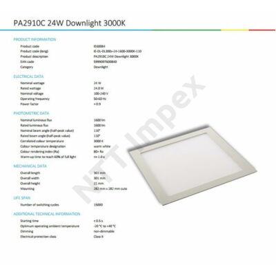 INS0084VILP Flat panel 300mm X 300mm 24W 1840Lm 3000K
