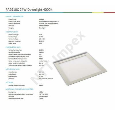 INS0085VILP Flat panel  300mm X 300mm 24W 1600Lm 4000K