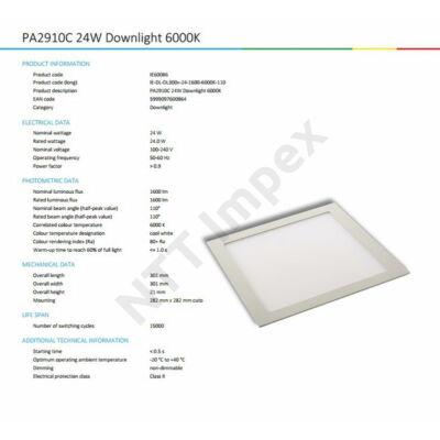 INS0086VILP Flat panel 300mm X 300mm 24W 1600Lm 6000K