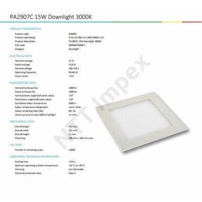 INS0087VILP Flat panel  190mm X 190mm 15W 1260Lm 3000K