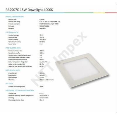 INS0088VILP Flat panel 190mm X 190mm 15W 1260Lm 4000K
